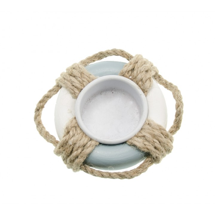 Bougeoir chauffe-plat bouée en bois blanc/bleu ciel D 9 cm