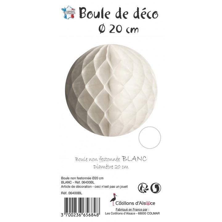 Boule alvéolée ballon blanc 20 cm