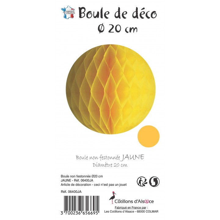 Boule alvéolée ballon jaune 20 cm