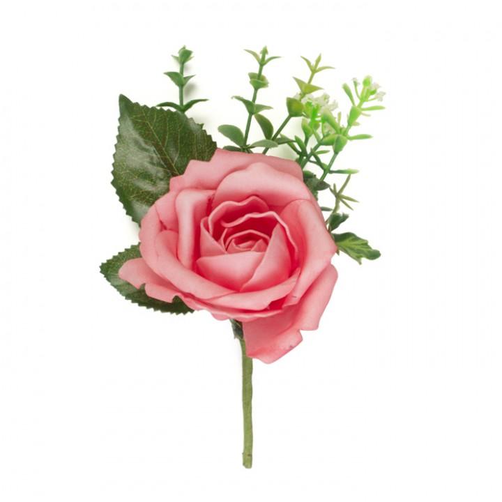 Boutonnière rose rose 16 cm