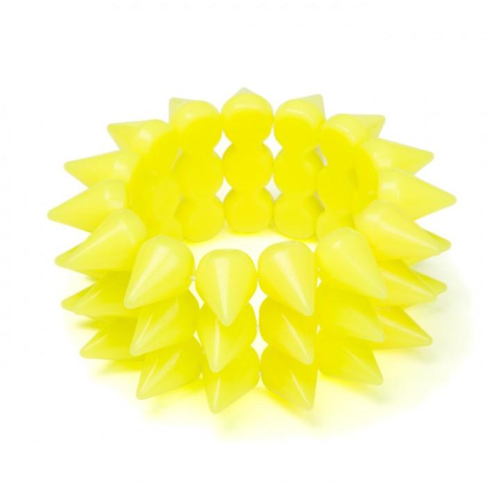 Bracelet fluo jaune picots D 7 cm