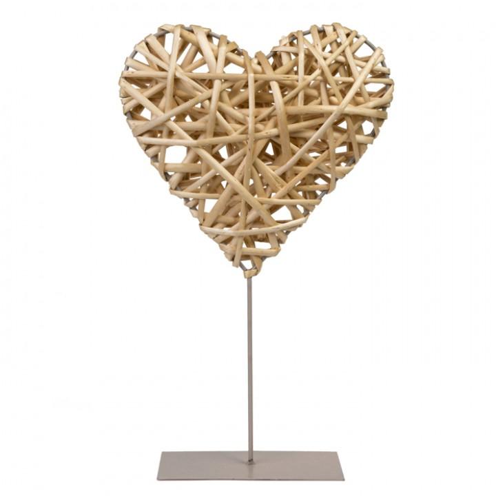 Cœur en osier naturel sur pied 20 x 20 x 5 cm
