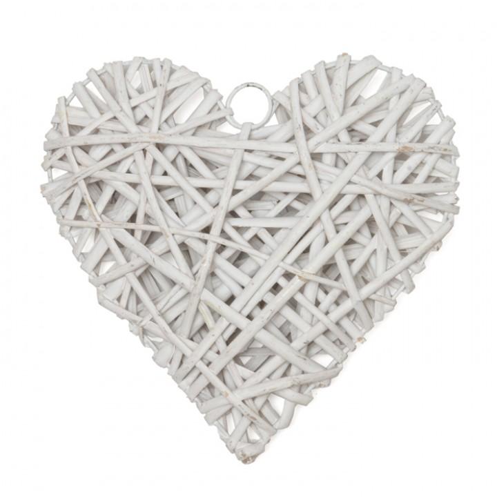 Cœur Osier blanc 15 x 15 x 4 cm