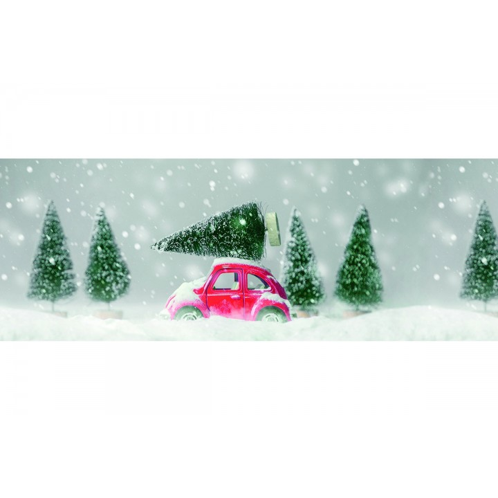 Chemin de table voiture sapin Noël 30 cm x 5 m