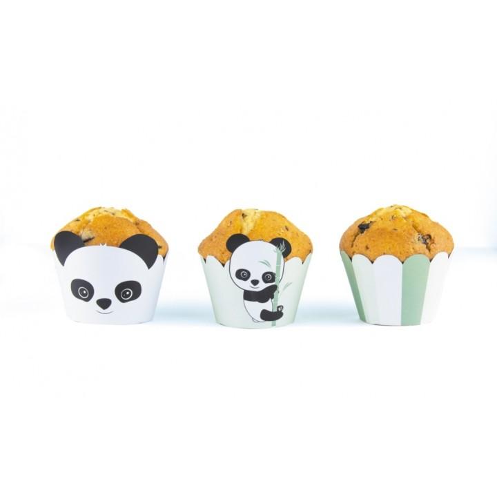 Lot De 6 Cupcakes Wrappers Bébé Panda
