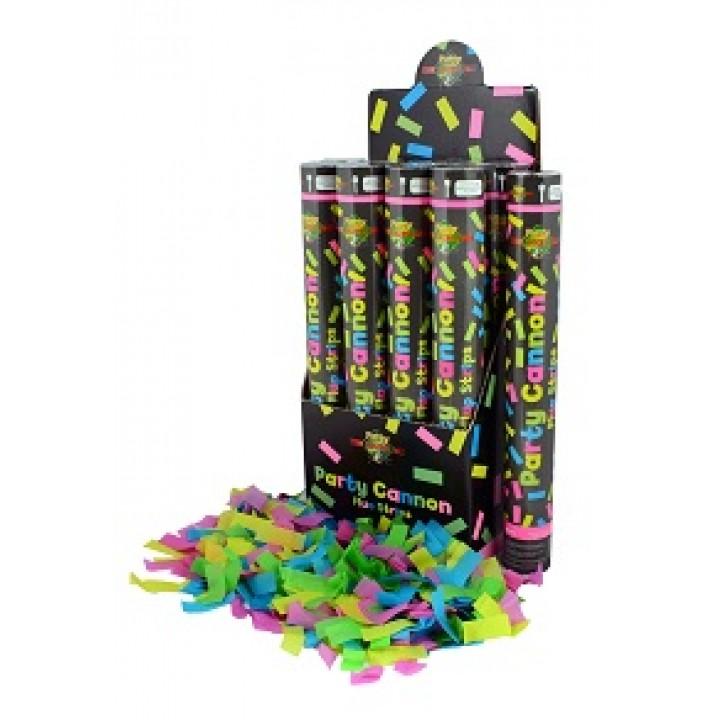 Canon à confettis fluos 40 cm