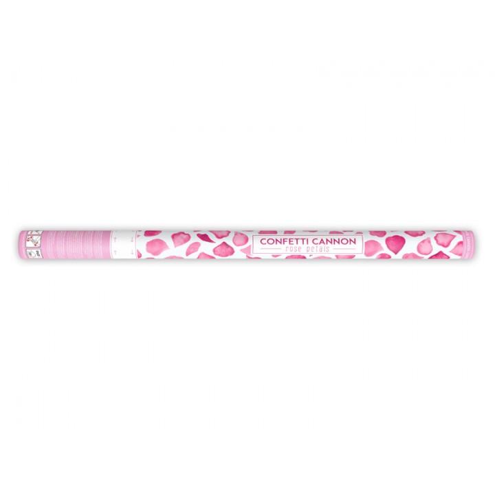 Canon à confettis pétales de rose rose 80 cm