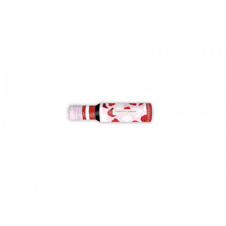 Canon à confettis pétales de rose rouge+cœurs blancs 30 cm