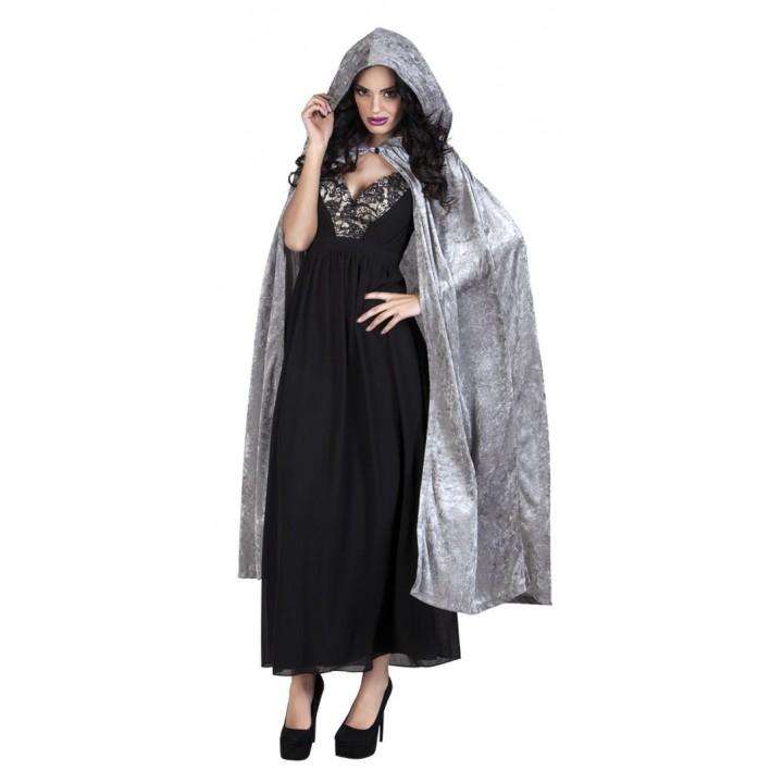 Cape de vampire en velours grise avec capuche Halloween adulte 170 cm