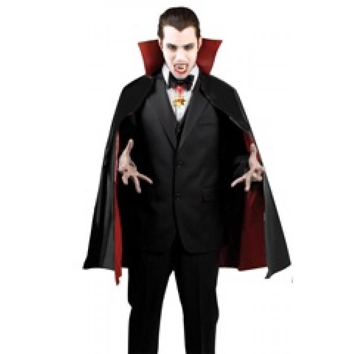 Cape de vampire reversible noire et rouge taille adulte