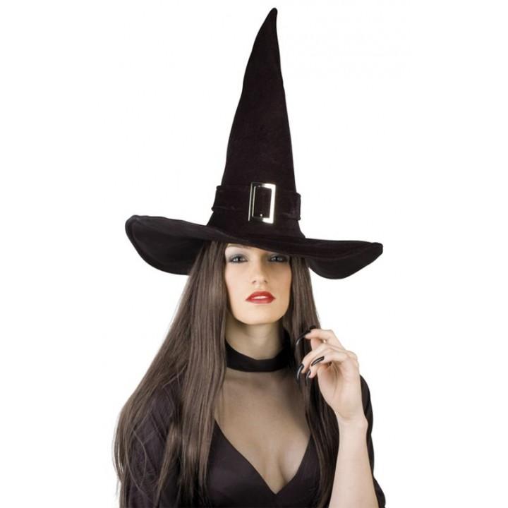 Chapeau de sorcière halloween velours noir taille adulte