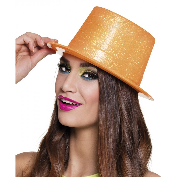 Chapeau Glitter Orange fluo