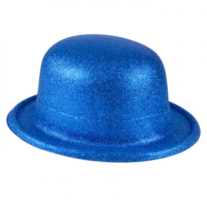 Chapeau melon bleu pailleté