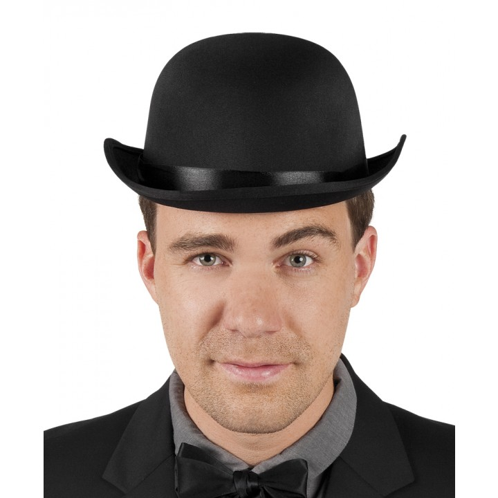 Chapeau Melon noir bowler satin
