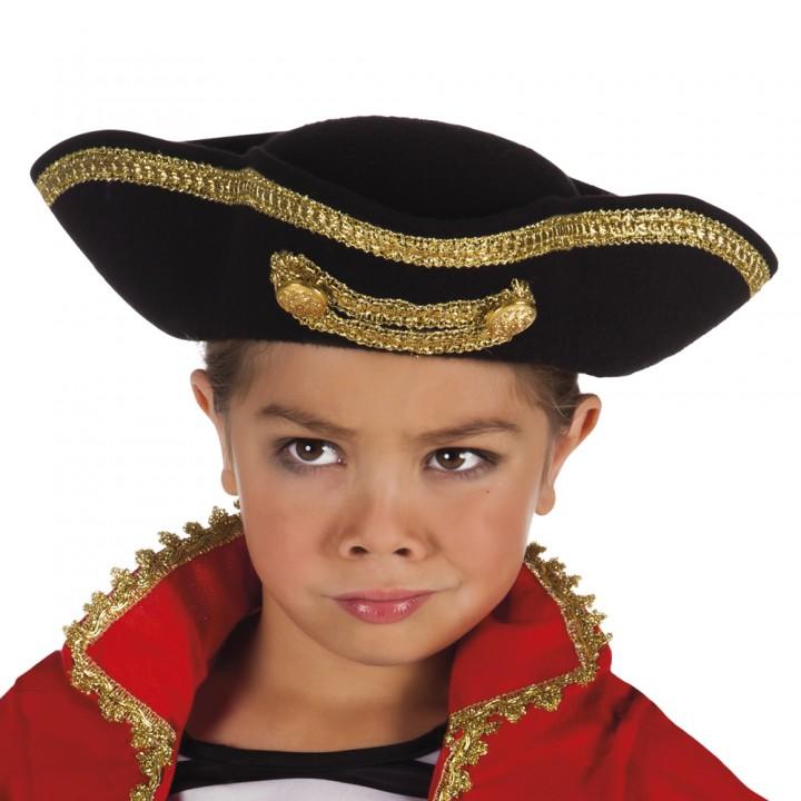 Chapeau Pirate Joey enfant noir avec galon or