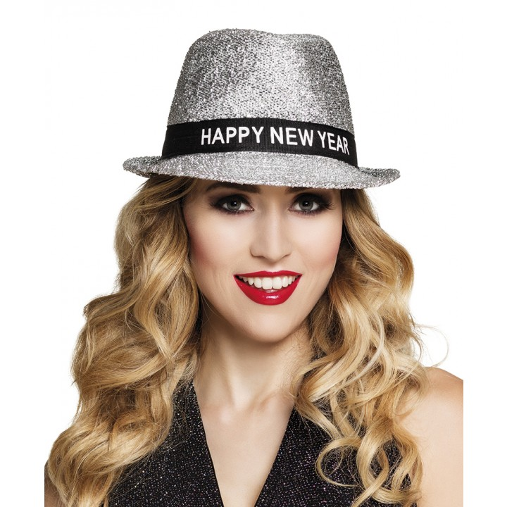 Chapeau Sparkling Happy New Year argent