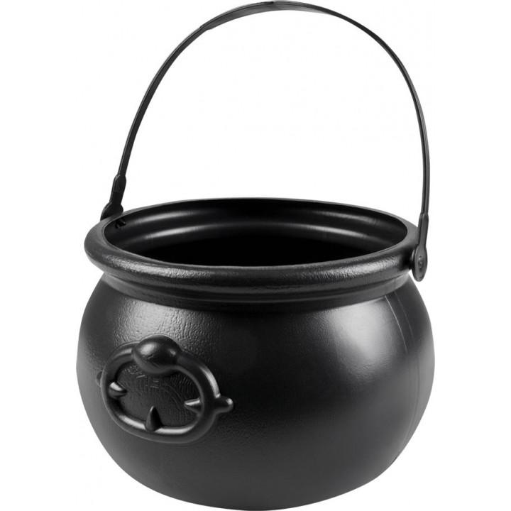 Chaudron noir avec anse Halloween 13 x 19 cm
