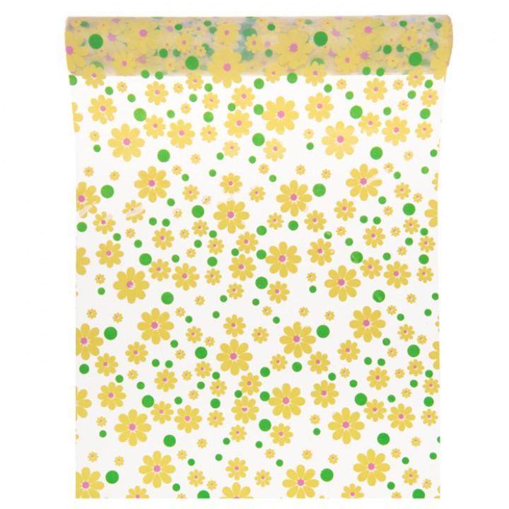 Chemin de table à fleurs jaunes 28 cm x 5 m