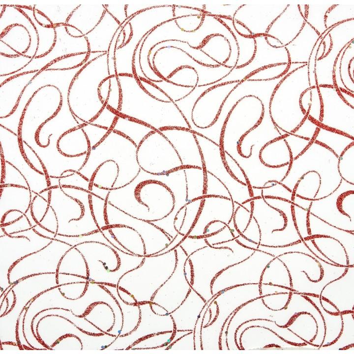 Chemin de table Bel canto rouge pailleté 28 cm x 5 m