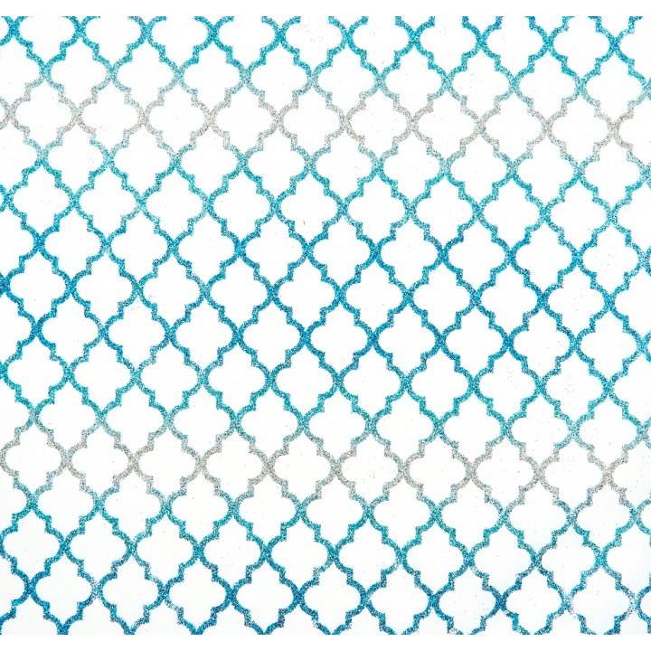 Chemin de table Elektra bleu pailleté 28 cm x 5 m