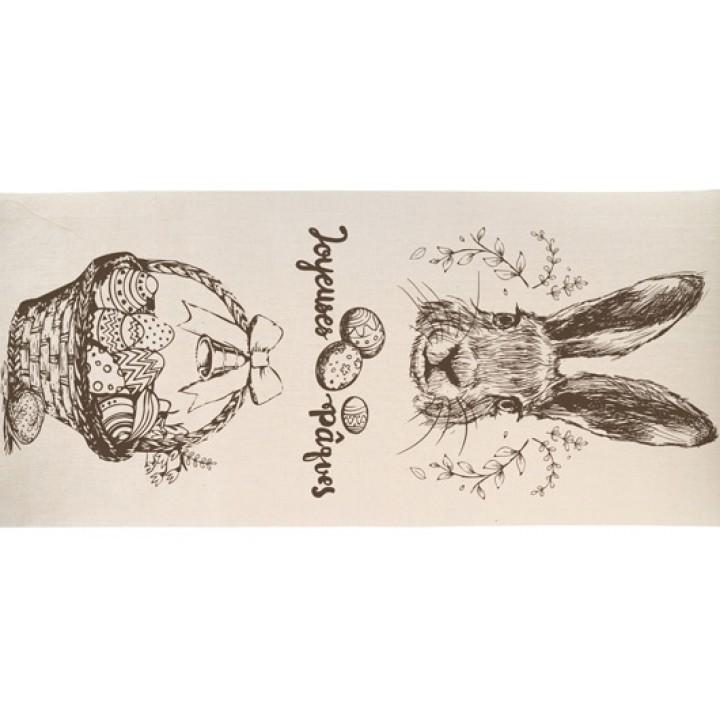 Chemin de table en lin Joyeuses Pâques 28 cm x 5 m