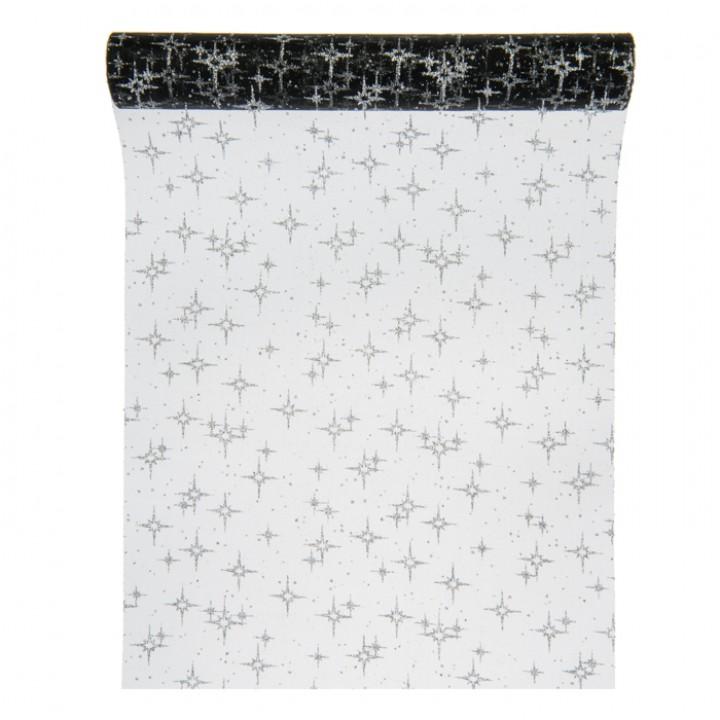 Chemin de table étoiles noires organza 30 cm x 5 m