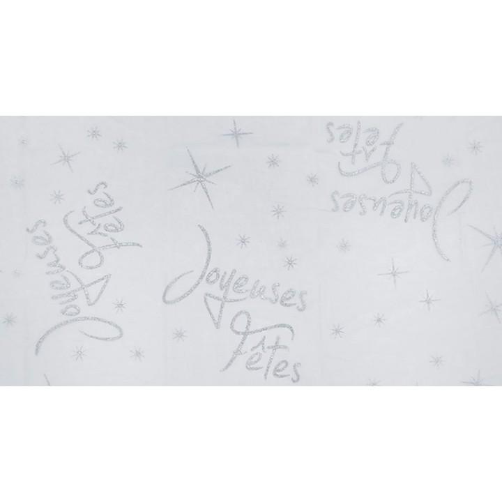 Chemin de table Joyeuses fêtes blanc 30 cm  x  5 m