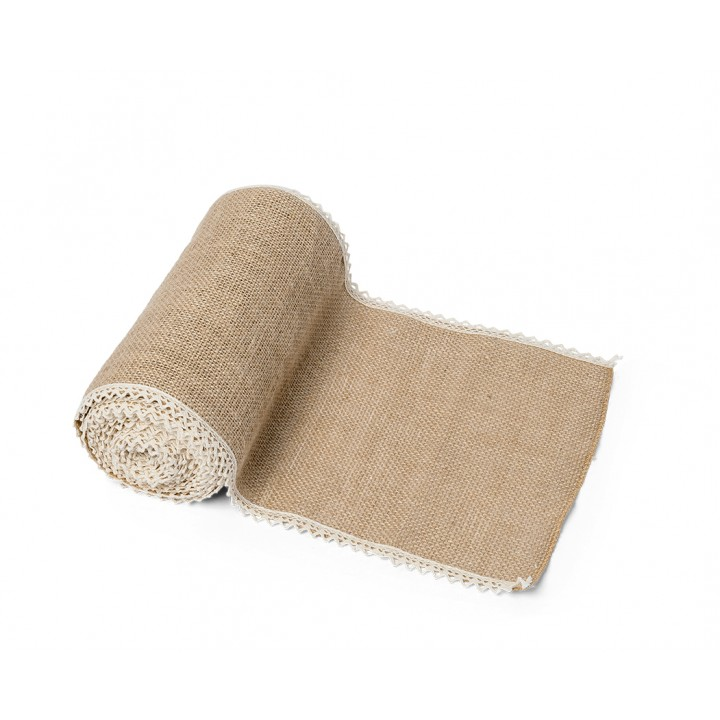Chemin de table jute bords dentelle 20 cm x 5 m