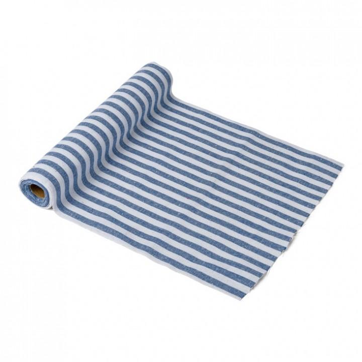 Chemin de table lin rayé marine et blanc 28 cm x 5 m