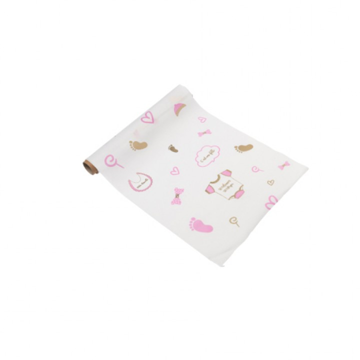 Chemin de table lin rayé rose/blanc/or Baby shower 28 cm x 5 m