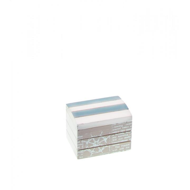 Coffre marin bleu ciel en bois 8 x 6 x 6 cm