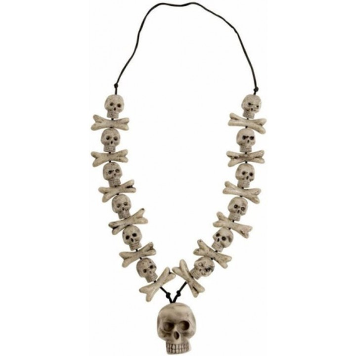 Collier avec crâne et os