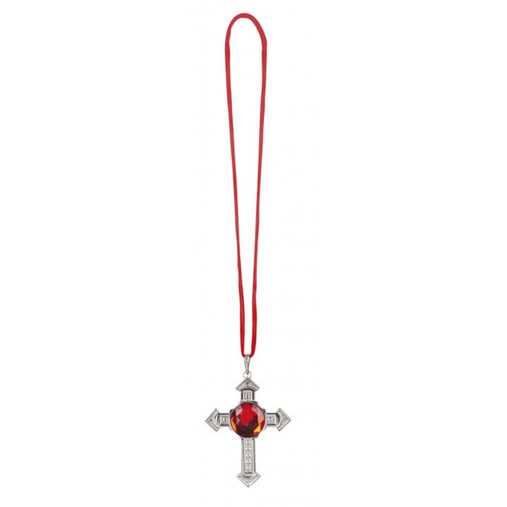 Collier croix de vampire avec rubis halloween