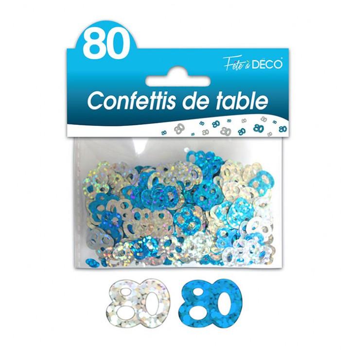 Confettis de table 80 ans Hologramme bleu argent