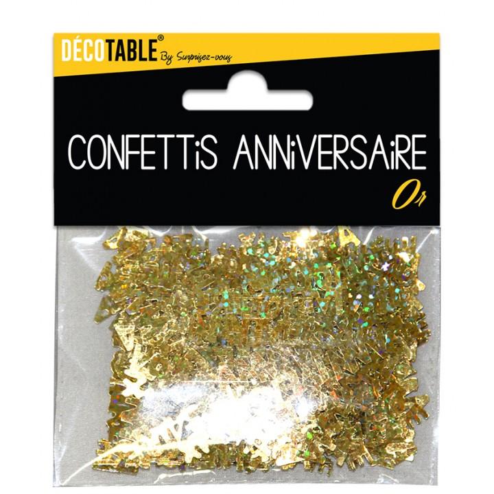 Confettis de table Joyeux Anniversaire Or