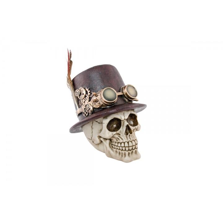 Vente chaude 2019 soldes meilleur prix Crâne en résine chapeau à plumes Halloween