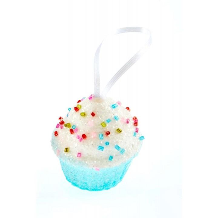 Cupcake bleu mini gourmandise à suspendre 5,5 cm