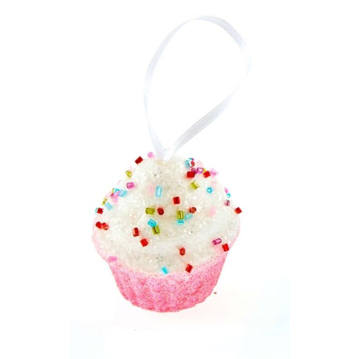 Cupcake rose mini gourmandise à suspendre 5,5 cm