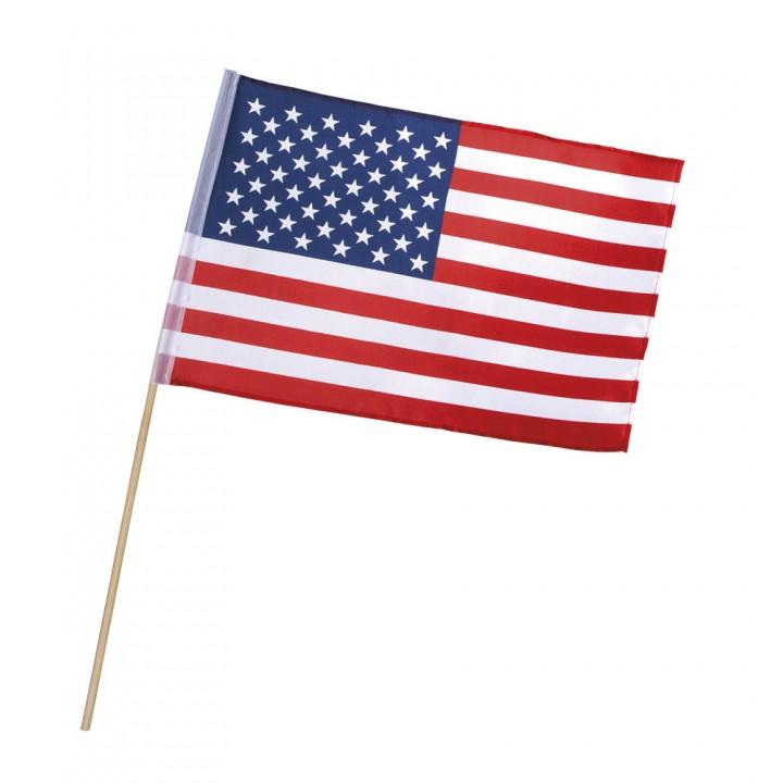 Drapeau à main USA sur tige 30 x 45 cm