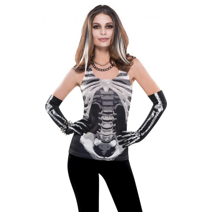 Debardeur squelette Halloween taille unique