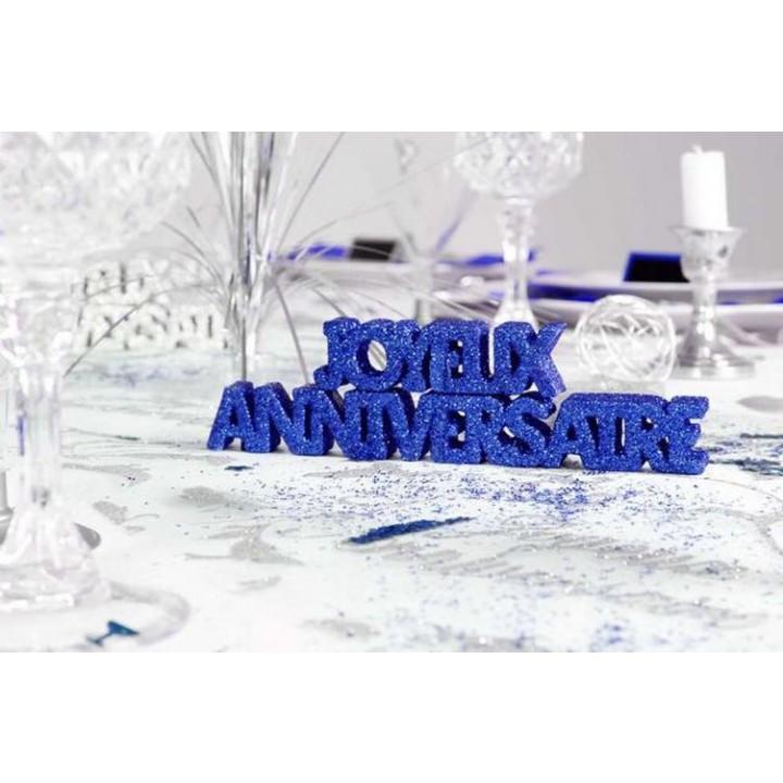 Décoration de table Joyeux Anniversaire bleu océan + 2 étoiles 3D- A poser