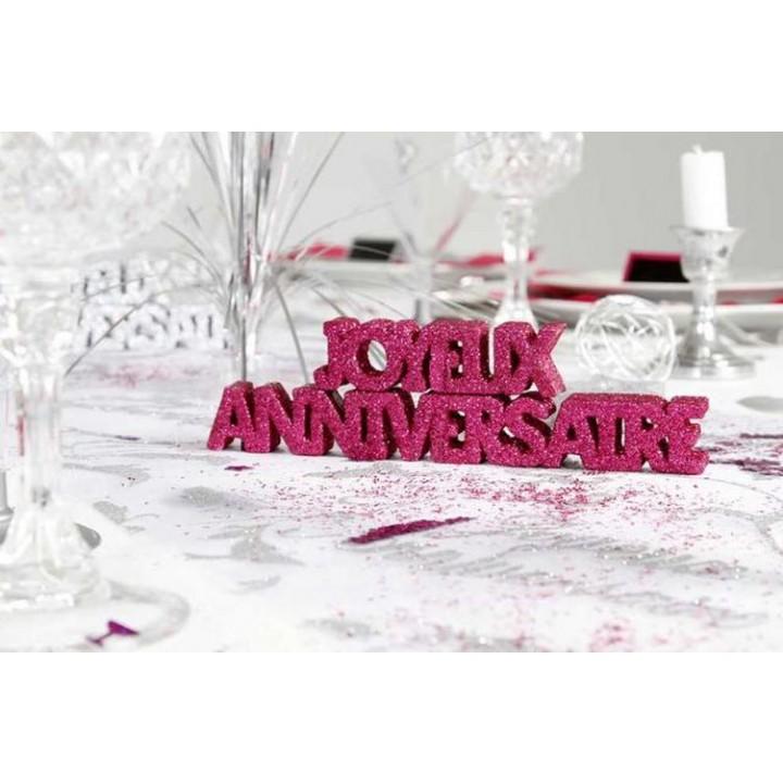 Décoration de table Joyeux Anniversaire fuschia + 2 étoiles 3D- A poser