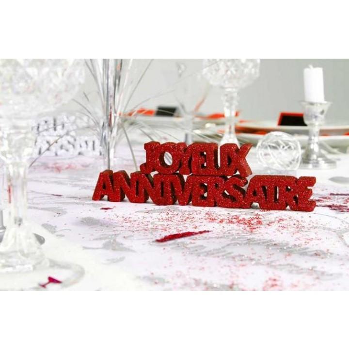 Decoration De Table Joyeux Anniversaire Rouge Passion 2 Etoiles 3d