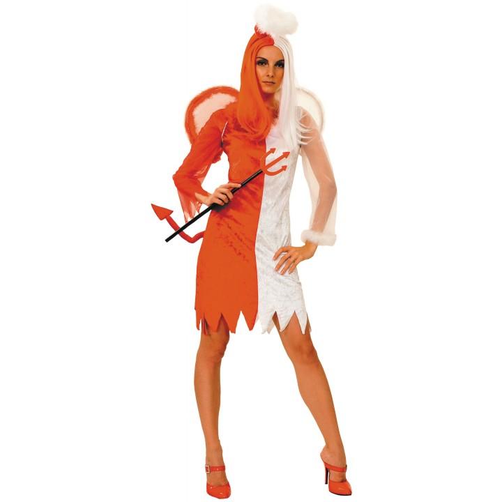 Déguisement ange et démon orange et blanc Halloween c78930f109f0