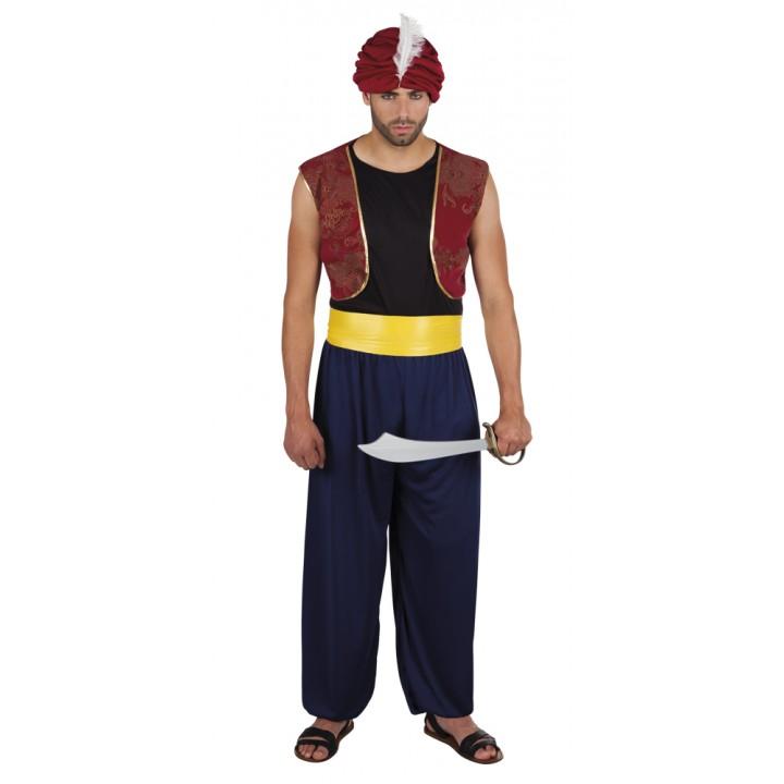 Déguisement de sultan homme rouge et bleu