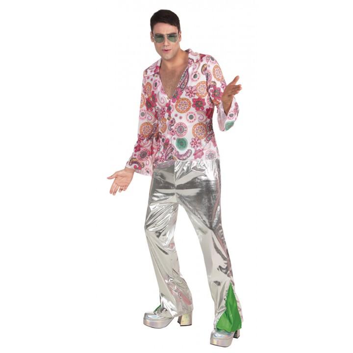 Déguisement disco homme argent et rose