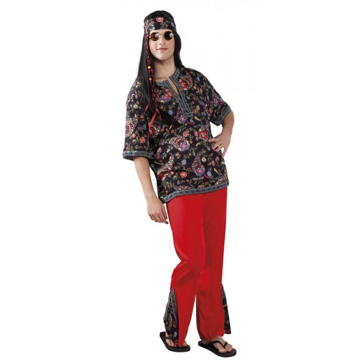 Déguisement hippie homme rouge et noir