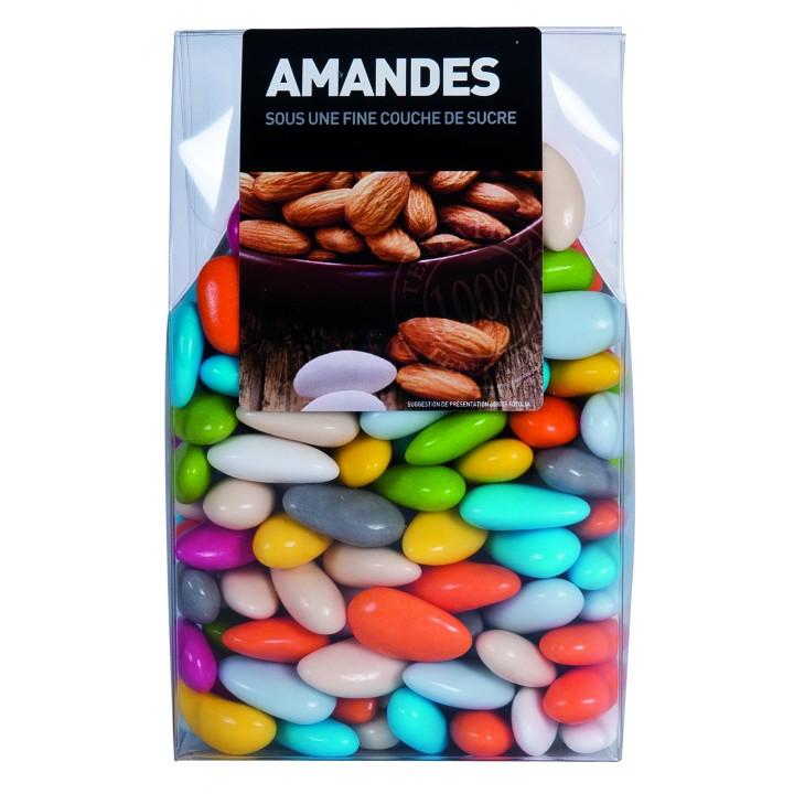 Dragées Amande Longuette Multicolore  450 gr