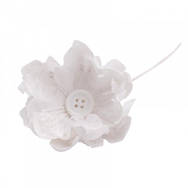 Lot de 10 fleurs blanches Choupy en jute