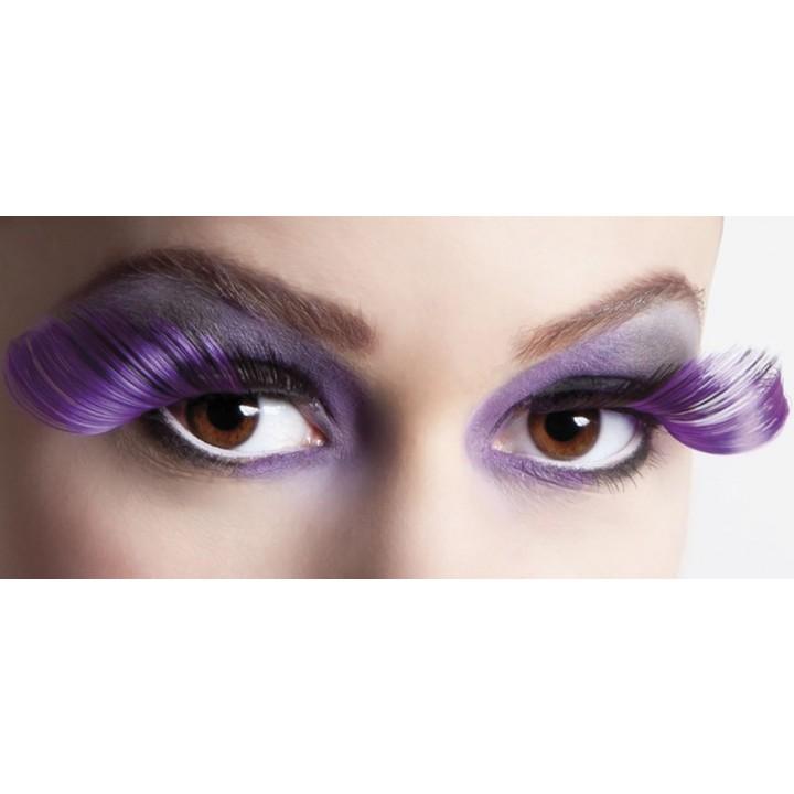 Faux-cils noirs/violets flamboyants